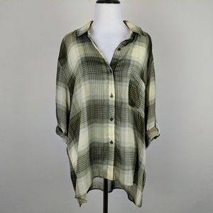 Band of Gypsies Sheer Green Plaid Button Blouse
